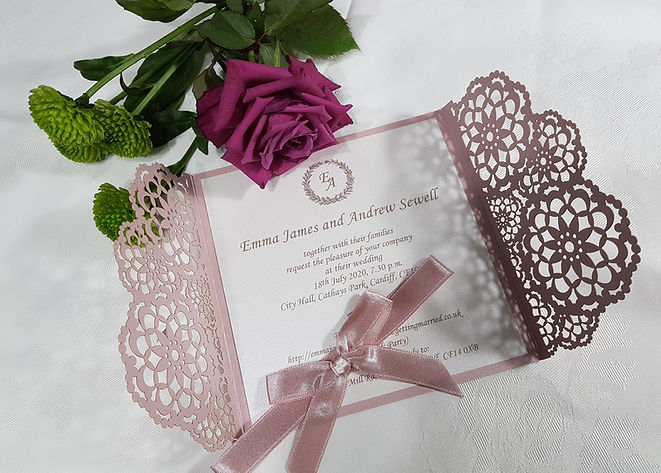 Blush pink Gatefold Laser cut wedding in