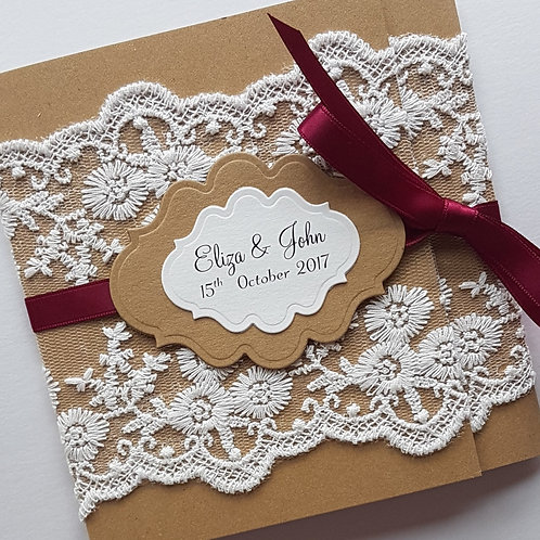 Rustic lace wrap-around pocketfold wedding invitation burgundy red