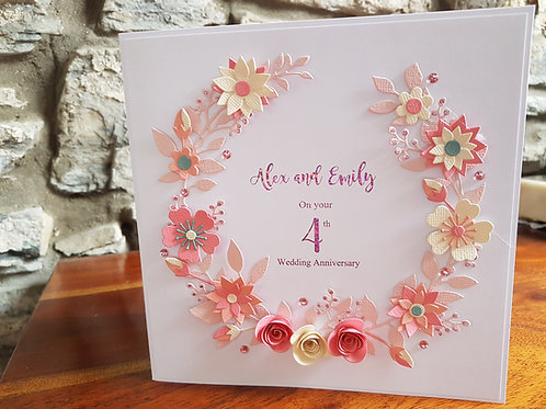 Personalised Anniversary card with floral wreath and foiling