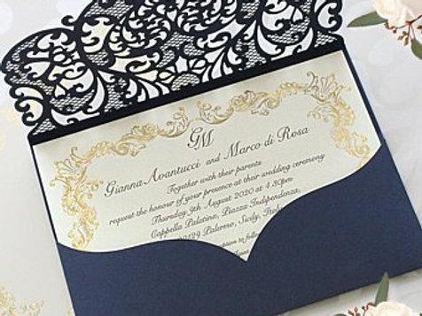 Queen of Heart_Pockefold laser cut wedding invitation