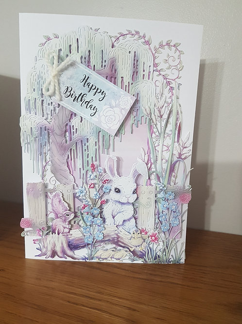 Birthday card with flowers, bunny, squirrel and duckling