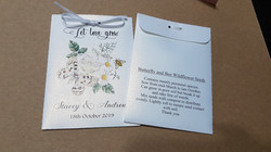 Personalised wedding favour seed packet.