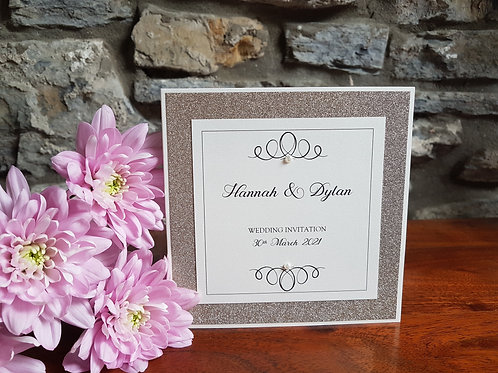 IVORY AND CHAMPAGNE GLITTER POCKETFOLD WEDDING INVITATION