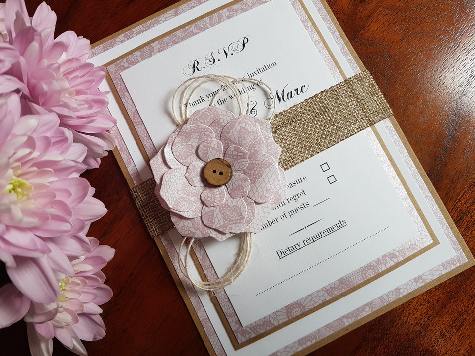 VINTAGE BLUSH PINK. RUSTIC WEDDING INVIT