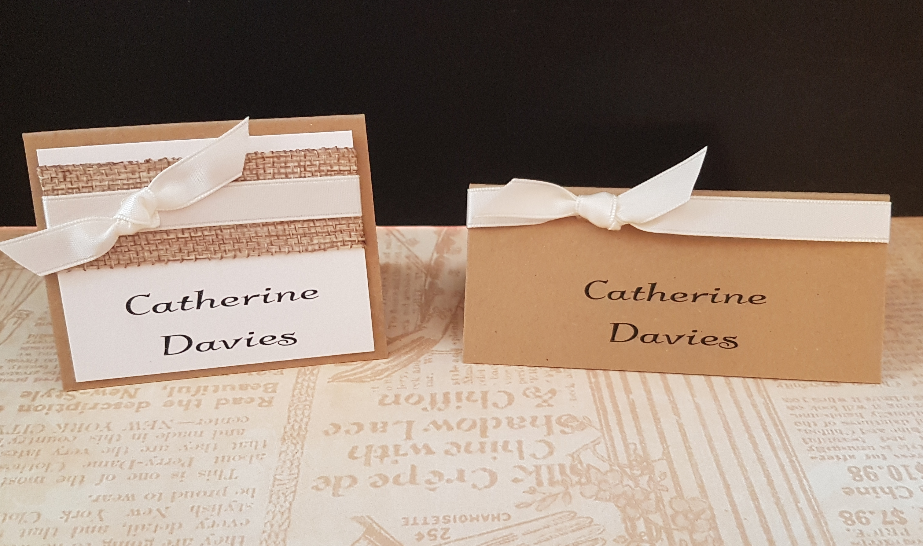 Handmade rustic Hessian wedding Place Cards