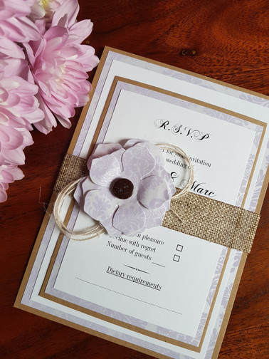 VINTAGE LILAC RUSTIC WEDDING INVITATION.