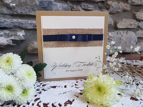 Rustic Hessian pocketfold Wedding invitation, dior bow