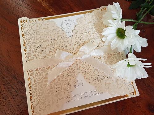 Wild Meadow_Ivory Gatefold Laser cut wedding invitation