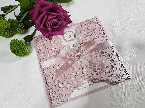 DAISY_Blush pink laser cut wedding invitation