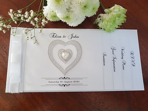 White cheque book wedding invitation, silver glitter heart & diamante
