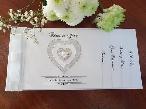 Handmade white pearl with diamante heart