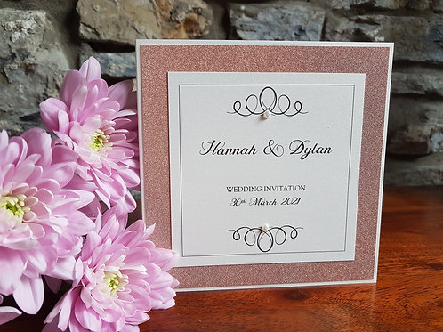 IVORY ROSE GOLD GLITTER POCKETFOLD WEDDING INVITATION