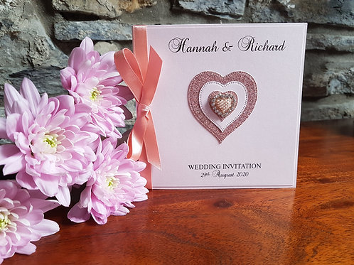 Rose gold pocketfold Wedding invitation with Rose gold glitter heart