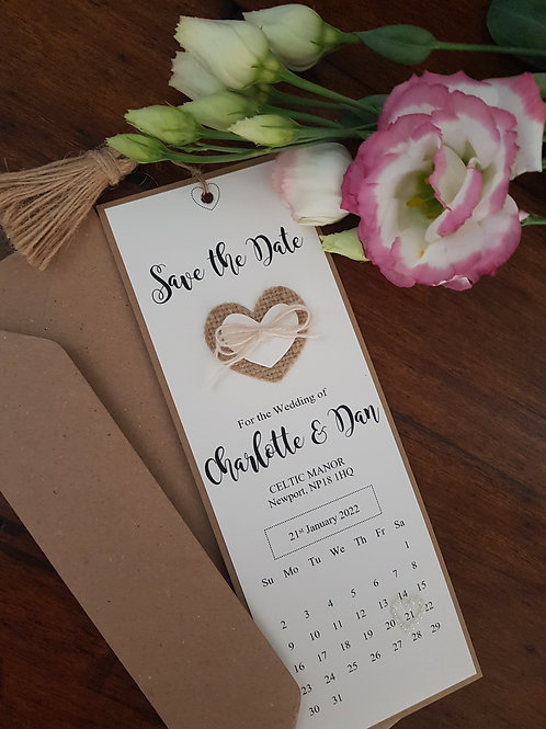 Bookmark style save the date with calendar