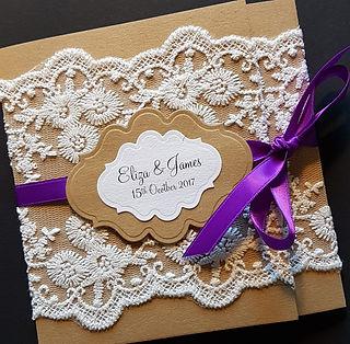 handmade rustic lace pocketfold wedding invitation