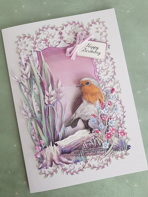 Birthday card with flowers and a robin