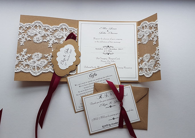 Rustic Lace Wrap-around pocketfold weddi