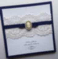 Handmade navy blue Lace and Cameo pocketfold wedding invitation.jpg