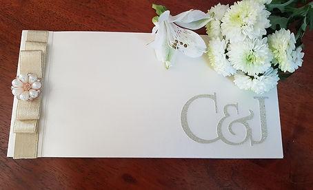Ivory and gold monogram cheque book invi