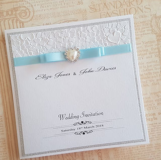 Handmade Silver glitter card and embossed heart paper pocketfold wedding invitation 2.jpg