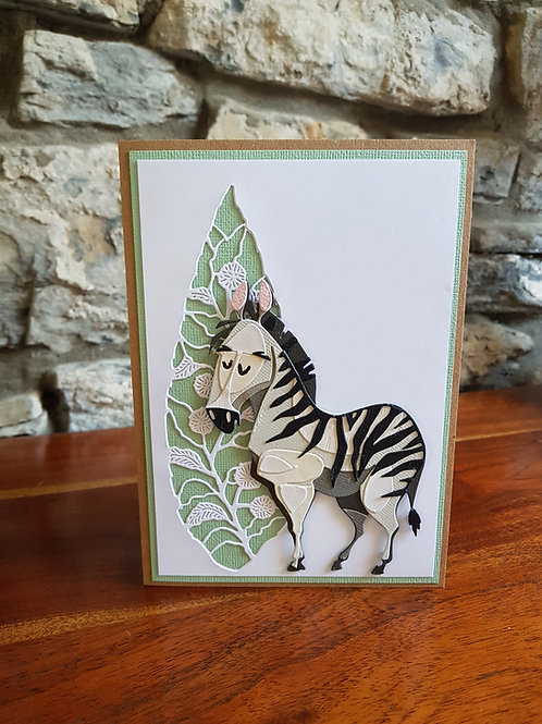 Children birthday card with cute Zebra