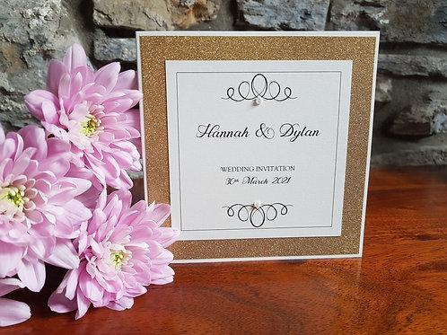 IVORY AND GOLD GLITTER POCKETFOLD WEDDING INVITATION