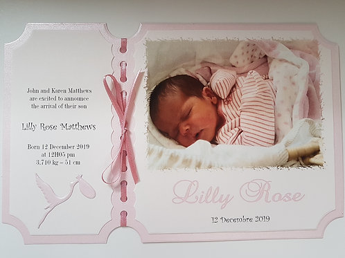 Personalised New Baby Girl Birth announcement card