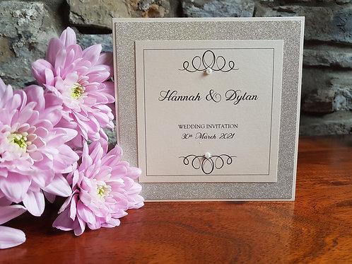 IVORY AND IVORY GOLD GLITTER POCKETFOLD WEDDING INVITATION