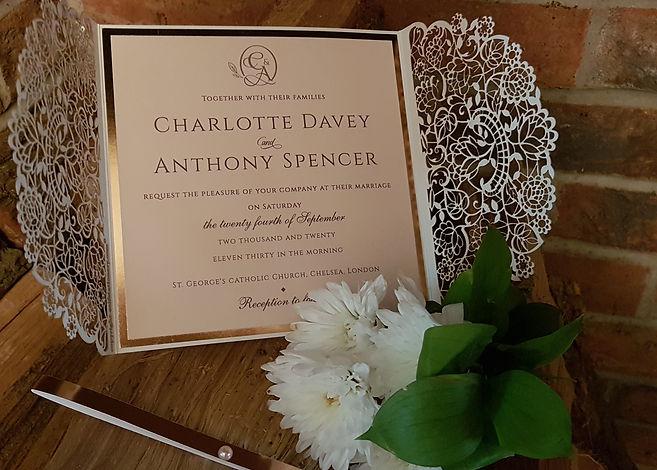 Ivory-peach Gatefold Laser cut wedding i