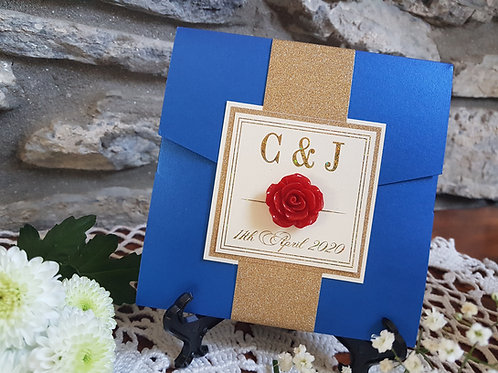 Be our guest pocketfold wedding invitation with foiling