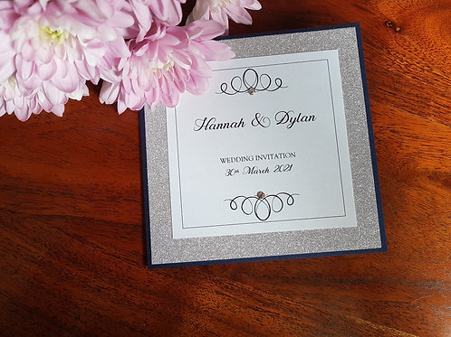 NAVY AND SILVER GLITTER POCKETFOLD WEDDING INVITATION