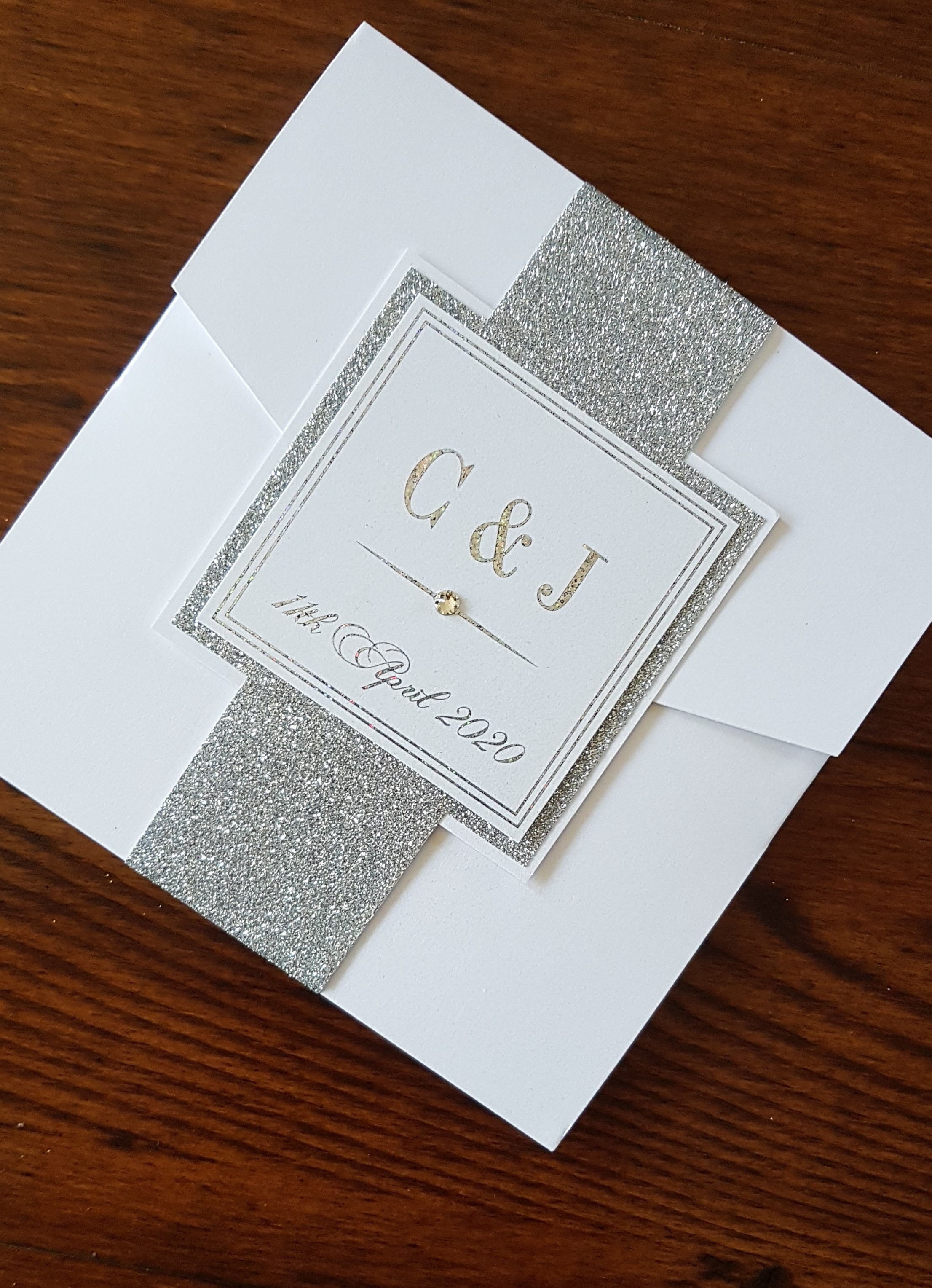 white-silver glitter pocketfold wedding