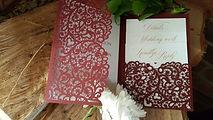 burgundy pocketfold laser cut wedding in
