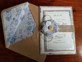 VINTAGE BLUSH BLUE RUSTIC WEDDING INVITA