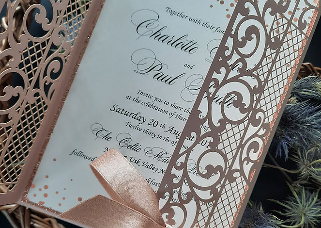 Gatefold Laser cut Rose Gold wedding inv