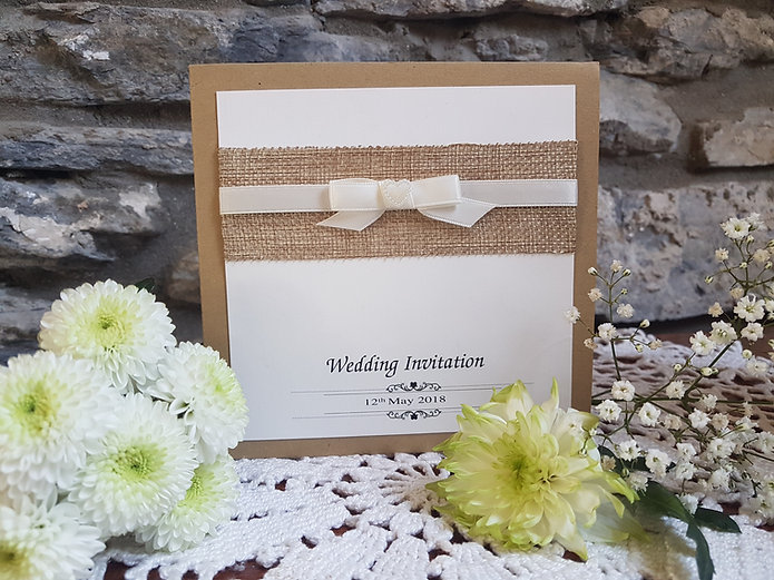 Rustic Hessian wedding invitation with i