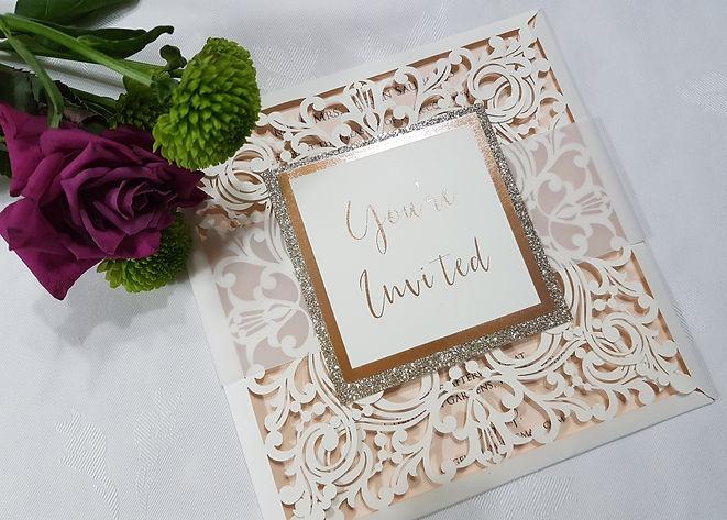 Ivory  Laser cut wedding invitation by R