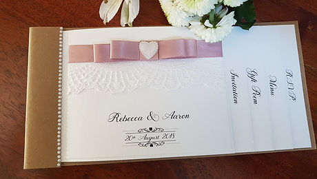 Rustic cheque book invitation with lace