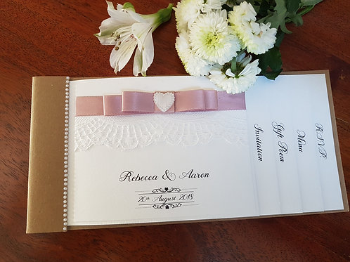 Rustic Cheque Book wedding invitation, with lace and dior bow