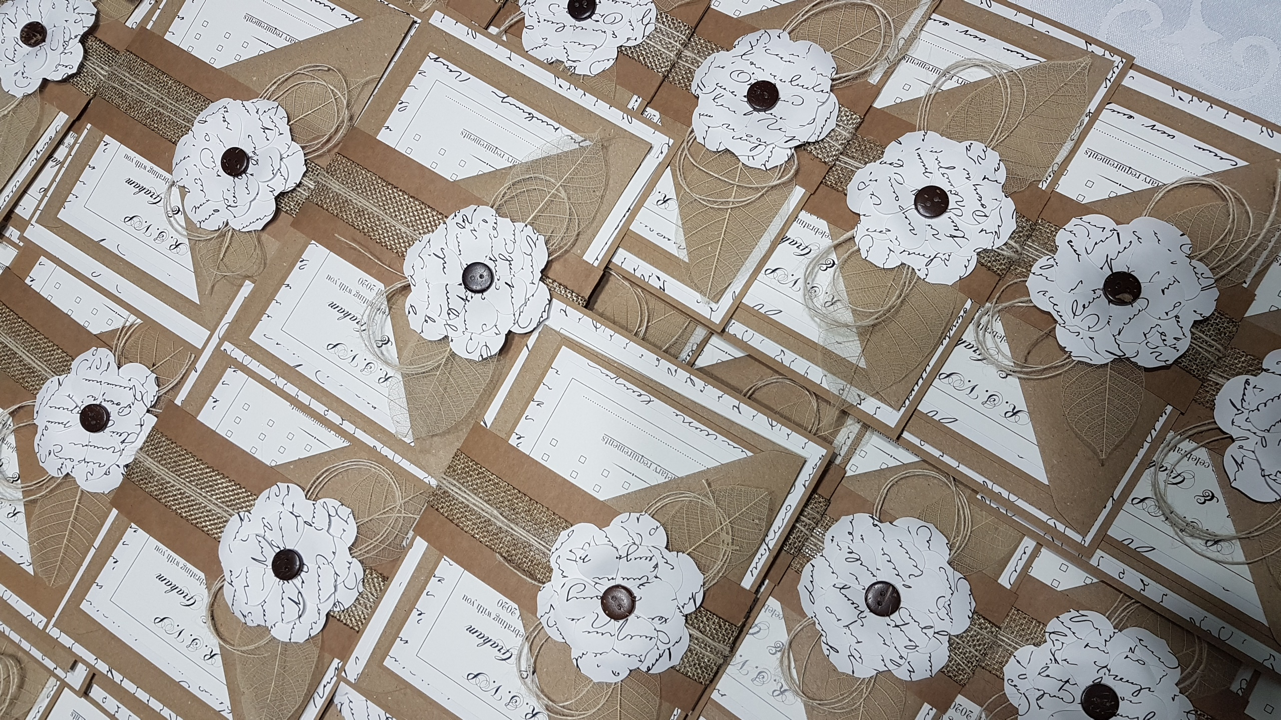 Rustic flat wedding invitation with bell