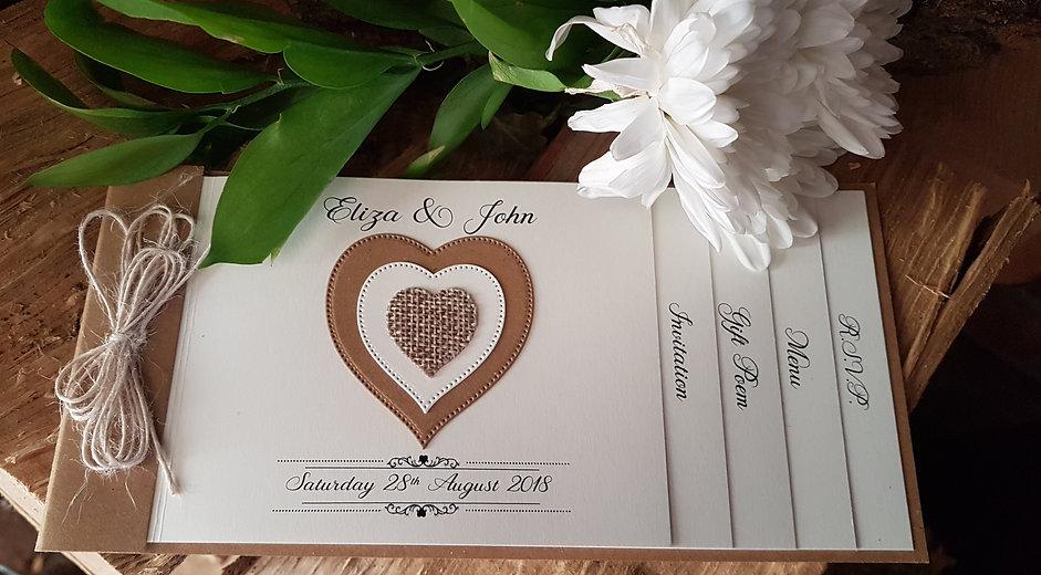 Handmade rustic Hessian cheque book wedd