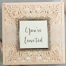 Peach Laser cut wedding invitation by Re