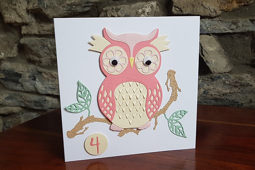 Children birthday card with cute Owl on a branch