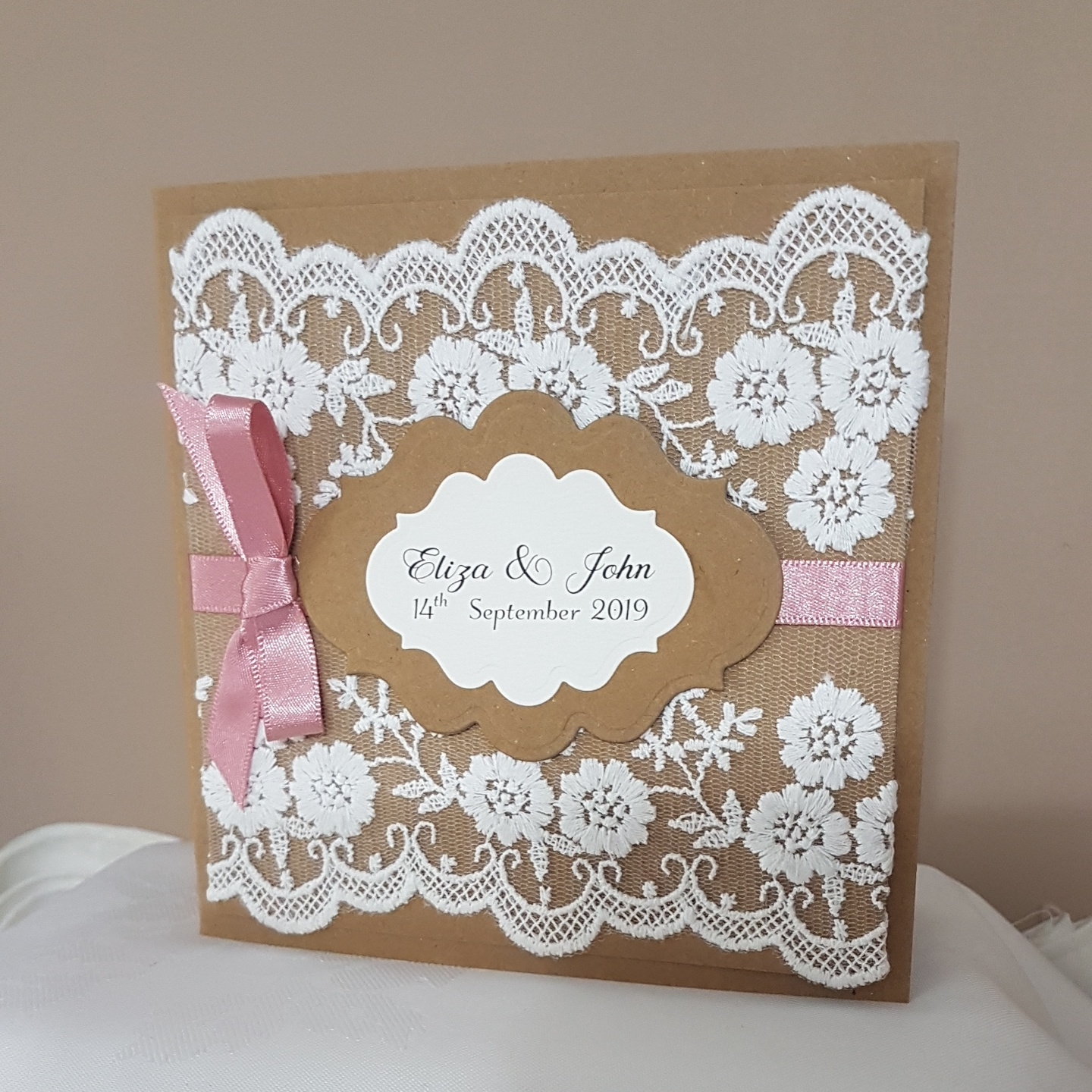 Rustic Lace pocketfold invitation