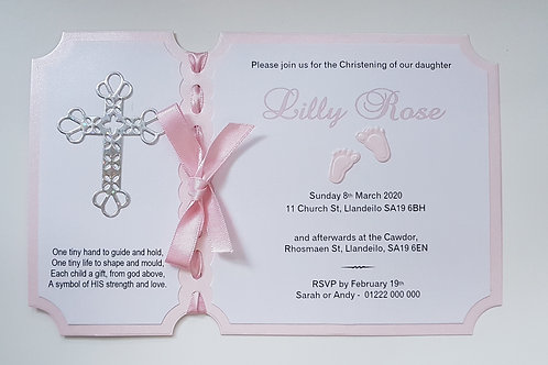 Baby girl christening invitation