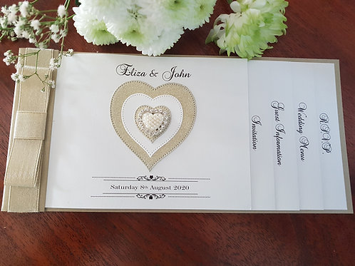 Gold shimmer cheque book wedding invitation, gold glitter heart & diamante