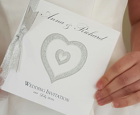 glitter silver heart pocketfold wedding invitation