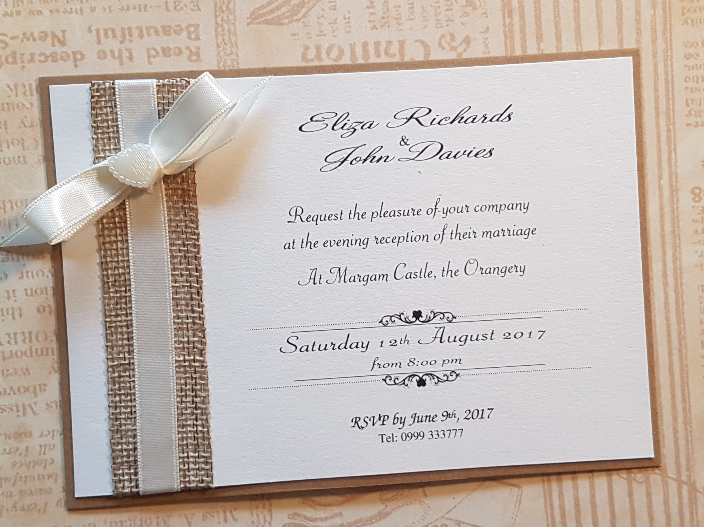 Handmade Rustic Hessian Evening wedding invitation with cream ribbon and pearl heart