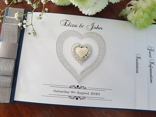 Navy blue cheque book wedding invitation, silver glitter heart & diamante