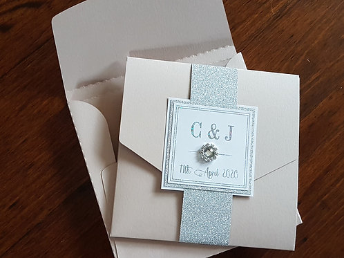 Luxury boxed Nude pocketfold wedding invitation with diamante and foiling